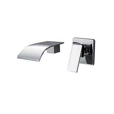 Koupelna Umyvadlová baterie - Vodopád Nástěnná montáž Pochromovaný Nástěnná montáž Single Handle dva otvory