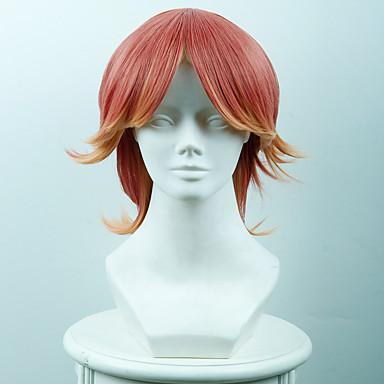 billige Kostymeparykk-Syntetiske parykker Kostymeparykker Rett Stil Lokkløs Parykk Nyanse Rød Syntetisk hår Dame Nyanse Parykk Kort OUO Hair