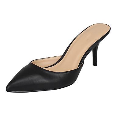 Unisexo Sapatos Couro Ecológico Verão Outono Sandálias Salto Agulha Dedo Aberto Dedo Apontado para Casual Preto