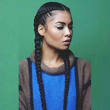 Χαμηλού Κόστους Συνθετικές περούκες με δαντέλα-Συνθετικές μπροστινές περούκες δαντέλας Ίσιο / Yaki Kardashian Στυλ Με μικρές μπούκλες Σχήμα L Περούκα Μαύρο Μαύρο Συνθετικά μαλλιά Γυναικεία Φυσική γραμμή των μαλλιών / Στη μέση / Περούκα κοτσιδάκια
