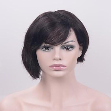 Synthetische Perücken Glatt Schwarz Spitzenfront Natürliche Perücke Kurz Synthetische Haare