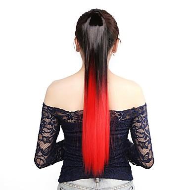 Rabos-de-Cavalo Pedaço de cabelo Alongamento Liso / Reto