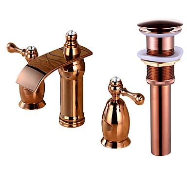Faucet Set - Cascata Rosa Dourado Difundido Duas alças de três furosBath Taps