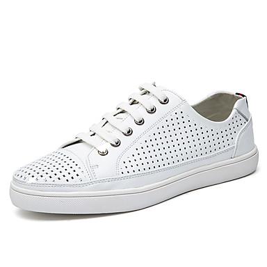 Homens sapatos Couro / Pele Napa Primavera / Outono Conforto Tênis Caminhada Branco / Preto / Azul