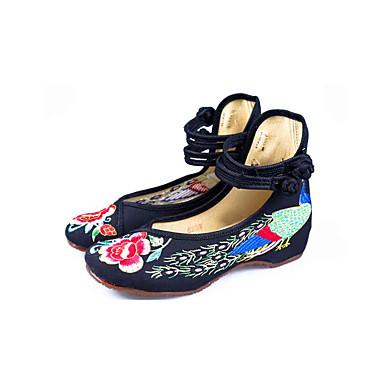 Damen Schuhe Stoff Frühling Herbst Bestickte Schuhe Komfort Flache Schuhe Flacher Absatz Runde Zehe Schnalle Spitze für Normal Kleid