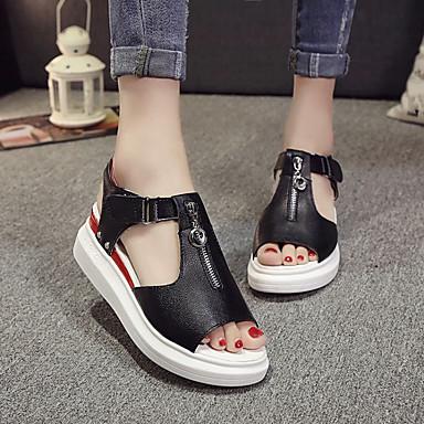 Naiset Sandaalit Comfort Kesä PU Kausaliteetti Creepers Valkoinen Musta Hopea Tasapohja