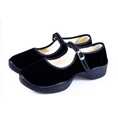 Mulheres Sapatos Tecido Primavera Outono Conforto MaryJane Rasos Plataforma Ponta Redonda Presilha para Diário Interior Preto