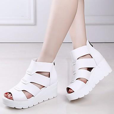 Damen Schuhe PU Sommer Sandalen Blockabsatz Für Weiß Schwarz Grau