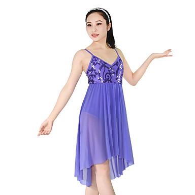 Ballett Kleider Damen Kinder Vorstellung Nylon Elastan Polyester Pailletten Pailletten Drapiert Gefalten 2 Stück Ärmellos NormalKleid