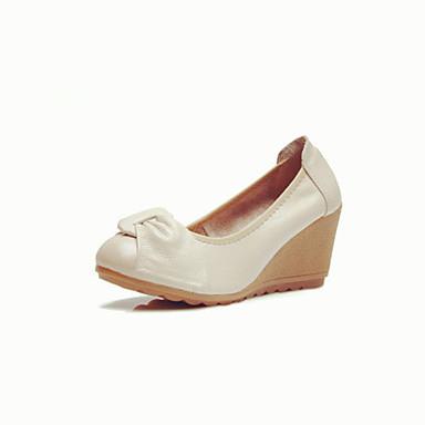 Damen Loafers & Slip-On Komfort Frühling Herbst Leder Normal Keilabsatz Weiß Schwarz Beige 2,5 - 4,5 cm