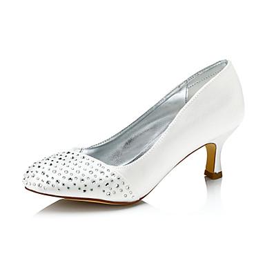 909747f51cb Mujer Zapatos Seda Otoño Invierno Confort Zapatos de boda Tacón Bajo Punta  abierta Dedo redondo para