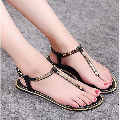 Naiset Kengät PU Kevät Comfort Sandaalit Käyttötarkoitus Kausaliteetti Kulta Musta Hopea