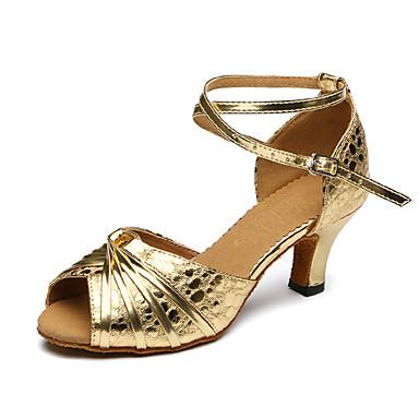 Mulheres Sapatos de Dança Latina Courino Sandália / Têni Presilha Salto Robusto Personalizável Sapatos de Dança Dourado / Couro