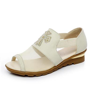 Naiset Kengät PU Kesä Comfort Sandaalit Tasapohja Käyttötarkoitus Kausaliteetti Beesi