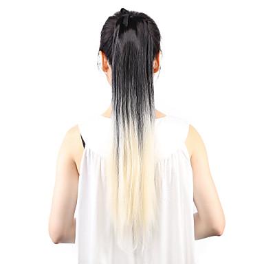 Suora Poninhännät Hiuspalanen Hiusten pidennys 22 tuumainen Vaaleahiuksisuus