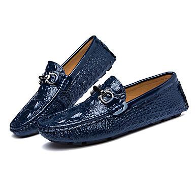 Miehet kengät Nahka Kevät Kesä Valopohjat Mokkasiinit Käyttötarkoitus Kausaliteetti Valkoinen Musta Sininen