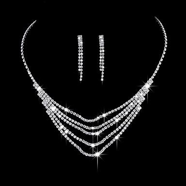 Mulheres Zircônia cúbica Zircônia Cubica Prateado Conjunto de jóias - Elegant Fashion Formato Circular Brincos Compridos Gargantilhas