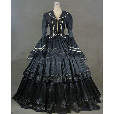 Rococo Victorian Costume Women's Dress Party Costume Masquerade Blue Vintage Cosplay Satin Long Sleeve Cap Sleeve Floor Length Halloween Costumes