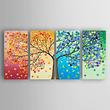 Oil Painting Hand Painted - Abstract Modern / Contemporary Canvas