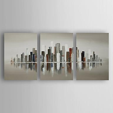 Pintura a Óleo Pintados à mão - Abstrato Abstracto Moderno / Contemporâneo Tela de pintura 3 Painéis