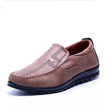 Homens sapatos Tecido Primavera Outono Conforto Mocassins e Slip-Ons Caminhada para Casual Escritório e Carreira Marron Khaki