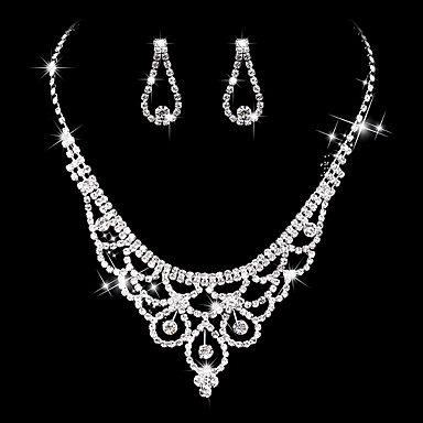 Women's AAA Cubic Zirconia Jewelry Set - Cubic Zirconia, Silver Luxury, Vintage, Elegant Include Drop Earrings / Choker Necklace / Bridal Jewelry Sets Silver For Wedding / Party / Anniversary