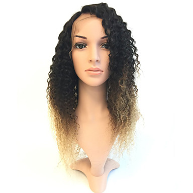Human Hair Glueless Full Lace / Full Lace Wig Curly Wig 130% Ombre Hair / Natural Hairline / African American Wig Women's Medium Length / Long Human Hair Lace Wig / 100% Hand Tied