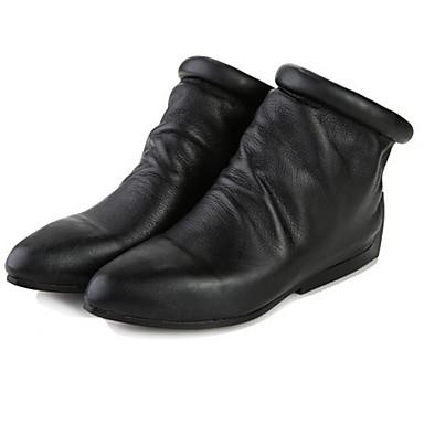 Naiset Kengät Nappanahka Nahka Kevät Comfort Bootsit varten Kausaliteetti Musta