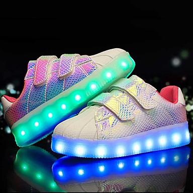 Jungen Sneaker Leuchtende LED-Schuhe Kunstleder Sommer Herbst Normal LED Niedriger Absatz Weiß Schwarz Purpur Rosa und Weiss Unter 2,5 cm