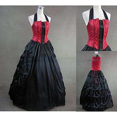 Mittelalterlich Viktorianisch Gothic Kostüm Damen Kleid Maskerade Party Kostüme Vintage Cosplay Other Satin Ärmellos Kappe Boden-Länge