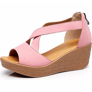 Mulheres Sapatos Sintético Verão Plataforma Básica Sandálias Salto Plataforma Peep Toe para Casual Branco Preto Amarelo Vermelho