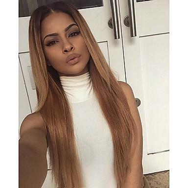 voordelige Korting Pruiken & Hair Extensions-Echt haar Lijmloos met kanten voorkant Kanten Voorkant Pruik Kardashian stijl Braziliaans haar Recht Pruik 130% Haardichtheid met babyhaar Ombre-haar Natuurlijke haarlijn Afro-Amerikaanse pruik 100