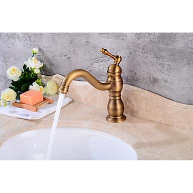 Moderne Mittellage Keramisches Ventil Einhand Ein Loch Antikes Kupfer , Waschbecken Wasserhahn