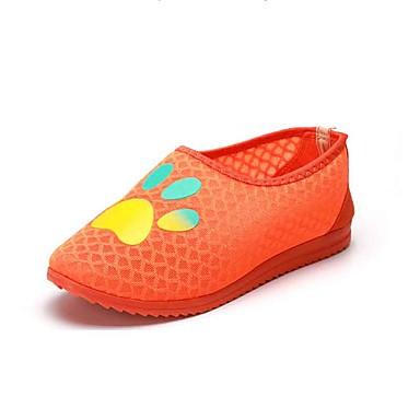 Mulheres Sapatos Tule Verão Conforto Mocassins e Slip-Ons Caminhada Sem Salto Ponta Redonda para Casual Ao ar livre Laranja