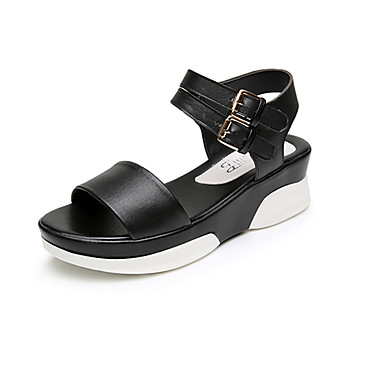 Mulheres Sapatos Microfibra Verão Conforto Sandálias Salto Plataforma Peep Toe para Casual Branco Preto