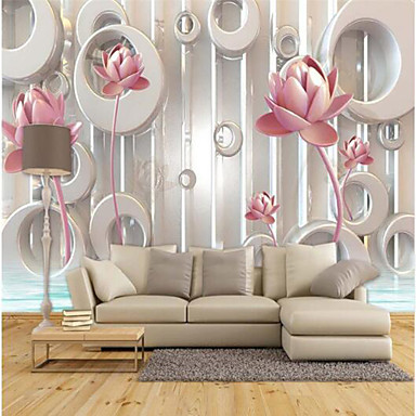 Pink Lotus Embossed Custom 3D Large Wall Covering Mural Wallpaper Fit Coffee Room Bedroom Kitchen Floral
