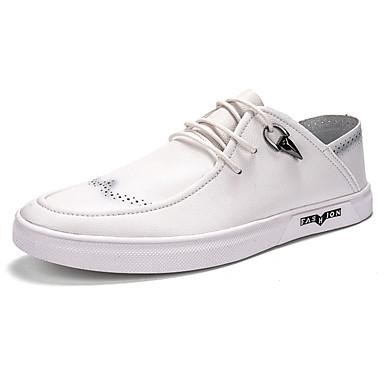 Miesten kengät PU Kevät Syksy Comfort Oxford-kengät varten Kausaliteetti Valkoinen Musta Vaalean ruskea