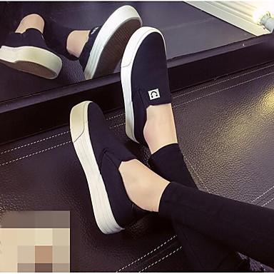 Damen Schuhe Leinwand Frühling Komfort Loafers & Slip-Ons Weiß / Schwarz