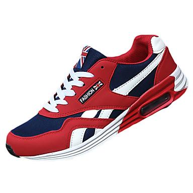 Mulheres Sapatos Borracha Primavera/Outono Conforto Tênis Sem Salto Ponta Redonda Cadarço para Ao ar livre Preto Vermelho Azul