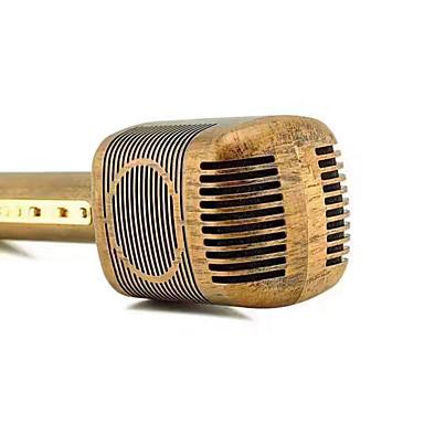 JY-51 Retro Wood Color Style Magic Karaoke Microphone Wireless Bluetooth Mic Speaker Song Recorder Music KTV