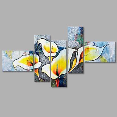 Pintados à mão Floral/Botânico Panorâmico vertical, Flor Abstracto Irregular Tela de pintura Pintura a Óleo Decoração para casa 5 Painéis