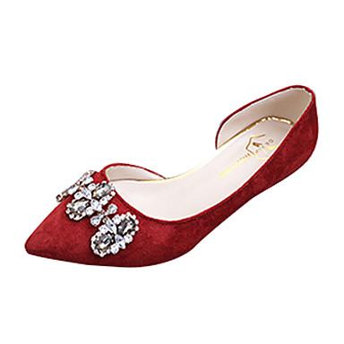 Damen Loafers & Slip-Ons Komfort Frühling Sommer Vlies Walking Strass Niedriger Absatz Schwarz Rosa Burgund Unter 2,5 cm