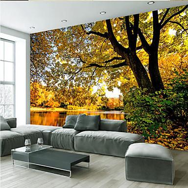 Mural Tela de pintura Revestimento de paredes - adesivo necessário Árvores / Folhas Art Deco 3D impressão