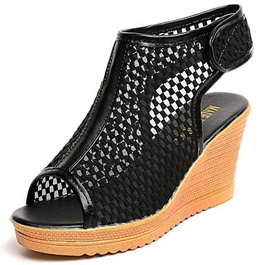 Mulheres Sapatos Tule Verão Sandálias Caminhada Salto Plataforma Ponta Redonda Colchete para Branco Preto