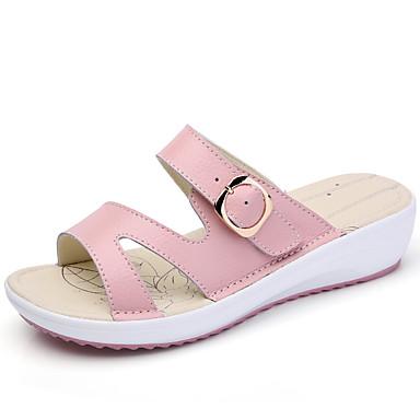 Mulheres Sapatos Couro Verão Outono Conforto Sandálias Salto Baixo para Casual Social Branco Preto Amarelo Azul Rosa claro