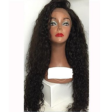 Human Hair Glueless Lace Front / Lace Front Wig Water Wave Wig 150% Natural Hairline / African American Wig / 100% Hand Tied Women's Medium Length / Long Human Hair Lace Wig