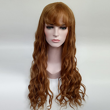 women s fashionable brown color long length capless synthetic wigs