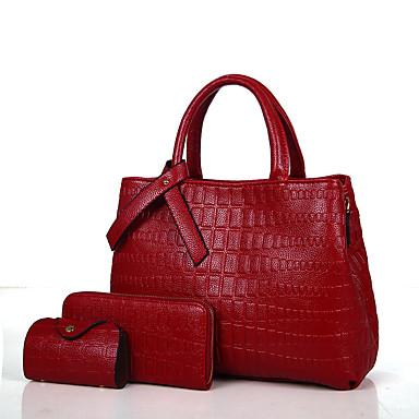 Női Táskák PU táska szettek Cipzár Rubin / Arcpír rózsaszín / Szürke