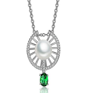 Damen Kreisförmig Gestalten Modisch Anhängerketten Synthetischer Diamant Imitierte Perlen vergoldet Anhängerketten Party Geburtstag