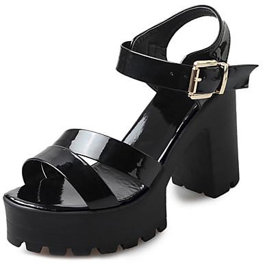 Naisten Kengät PU Kesä Sandaalit Kävely Paksu korko Pyöreä kärkinen Split Joint varten Valkoinen Musta